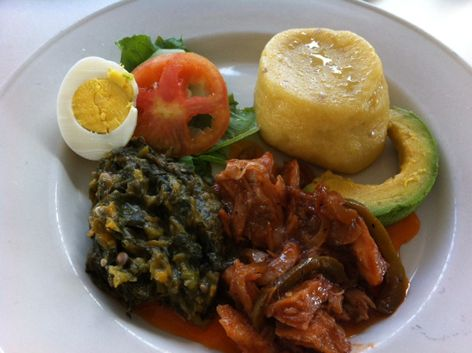 Typical breakfast in antigua with ling fish fungee and for Antiguan cuisine