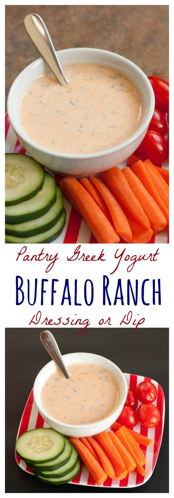 Pantry Greek Yogurt Buffalo Ranch Dressing or Dip - a healthy way to add a little kick to your salads or veggies with basic ingredients in your kitchen   cupcakesandkalechips.com   gluten free
