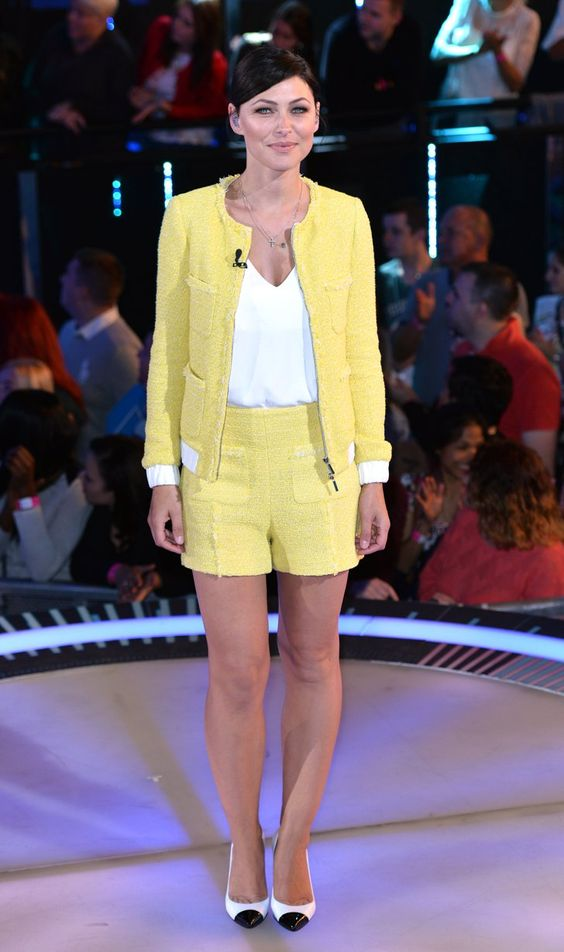 Pin for Later: No Wonder Big Brother's Emma Willis Is the Celeb Mum We All Want to Look Like Emma Willis A Chanel-esque yellow two-piece was a departure after a string of pretty dresses during the September 2014 series of Big Brother.