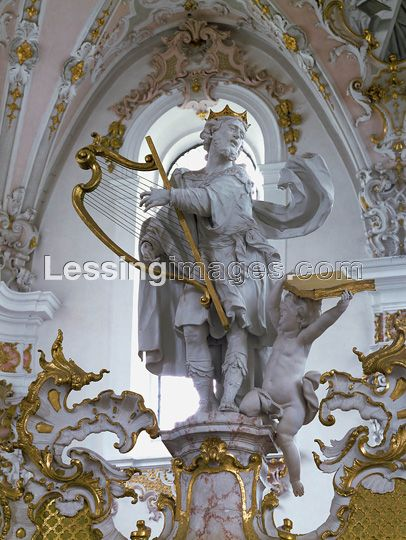 Schmaedl,Franz Xaver (18th)  King David playing the harp. From the left choir loft. Wood and stucco.   Church of the Augustinian Canons, Rottenbuch, Germany: