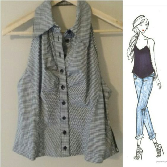 Black + White Checkered Halter Full button up, black and white checkered halter tank, also has collar and rouging along the bust near button area for extra material  :) Size large Ashley O'Rourke Tops Tank Tops