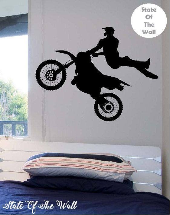 Dirt Bike Biker Mid Air Trick Vinyl Wall Decal Sticker Art Etsy In 2020 Vinyl Wall Decals Vinyl Wall Wall Decals