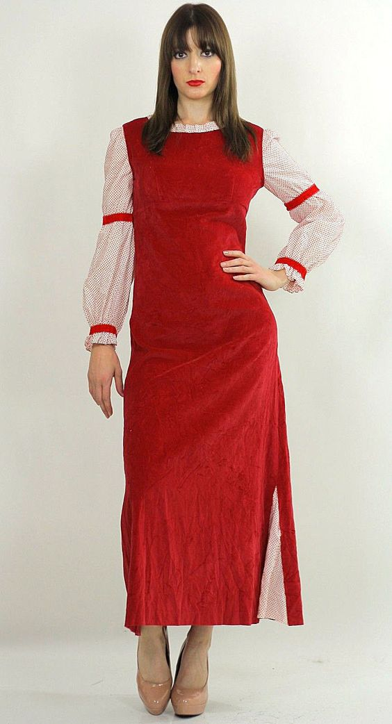 Vintage 70s Boho Hippie Red Velveteen party maxi dress