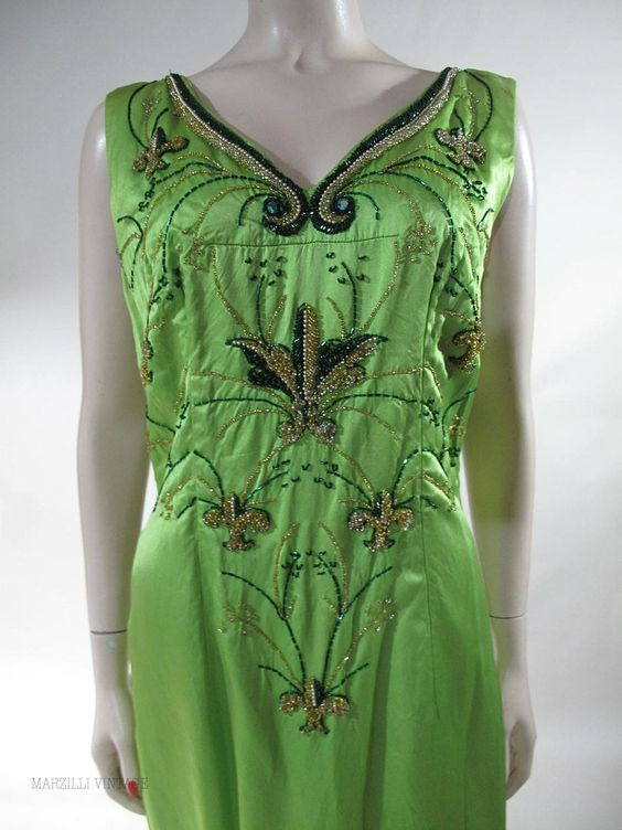 Sumptuous 1960's Beaded Bernetti Evening Gown found on Ruby Lane