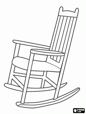 Wooden rocking chair or rocker with back bars coloring - Sedia a dondolo disegno ...