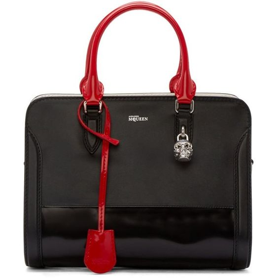 Alexander Mcqueen Black and Red Patent Padlock Duffle (¥103,850) ❤ liked on Polyvore featuring bags, handbags, tote bags, purses, skull purse, zip tote, skull tote bag, skull tote and tote purse