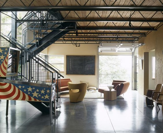 Marvelous Scissor Truss look Seattle Industrial Living Room - industrial vintage wohnhaus loft stil