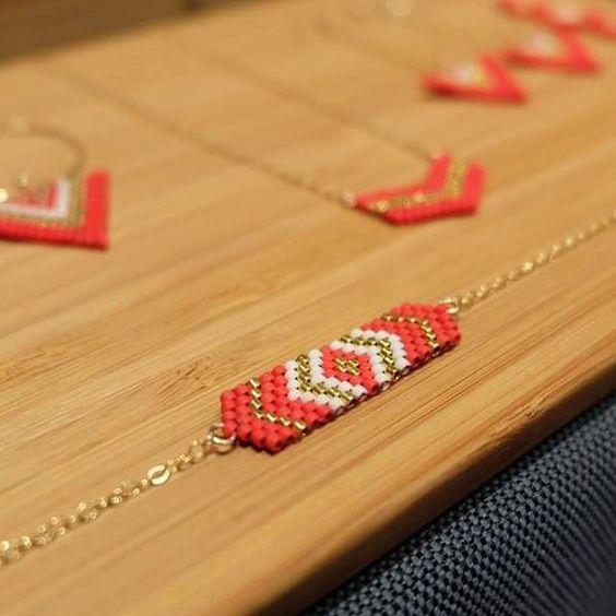 Bracelet Lima palqué or 14carats et perles Miyuki Rouge et or plaquées 24 carats : Bracelet par ccedille-bijoux
