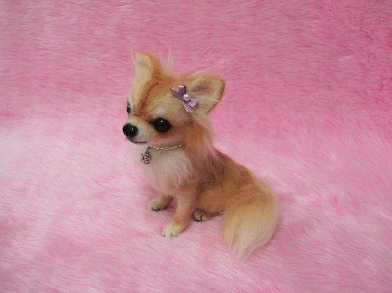 Needle Felted Long manteau Chihuahua : par LilyNeedleFelting