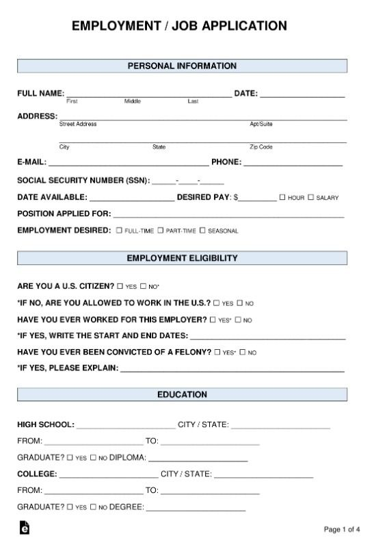 Employment Application Template 11 Free Printable Word Excel Pdf Forms Sample Employment Application Printable Job Applications Job Application Template