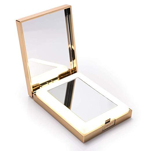 Longko Led Lighted Travel Makeup Mirror Double Sided 1x 10x