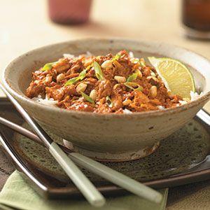 Adam and I made this tonight- cooking light thai pork (crockpot recipe)- AWESOME!