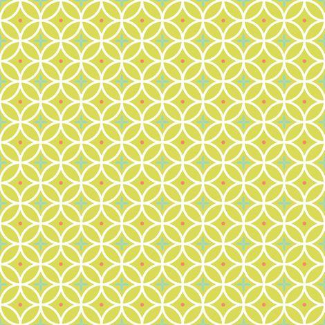 Ring Toss - celery / aqua / coral fabric by kayajoy on Spoonflower - custom fabric