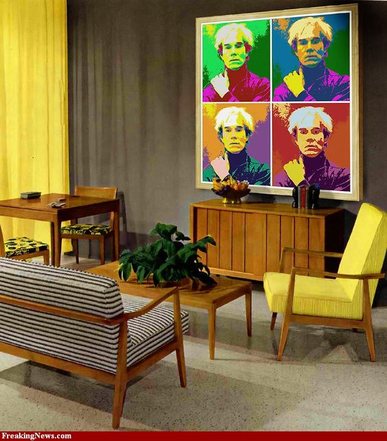 60 39 s living room with warhol painting m c m f o r t h e h o me pinterest gardens. Black Bedroom Furniture Sets. Home Design Ideas