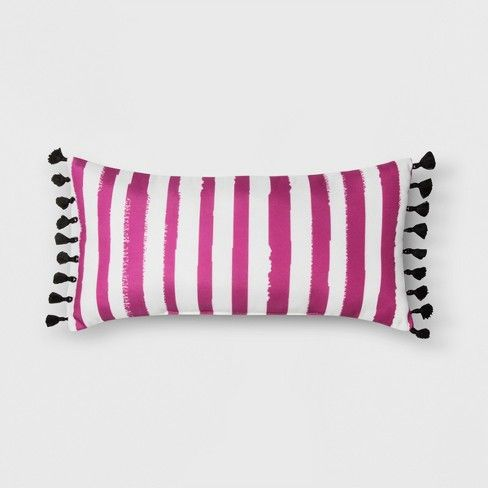 20 Outdoor Striped Throw Pillow With Tassels Pink Black