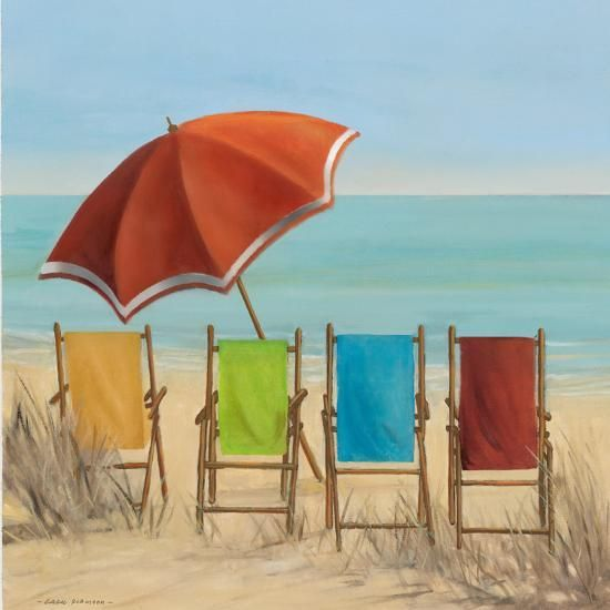 Four Summer I Art By Carol Robinson In 2020 Beach Watercolor