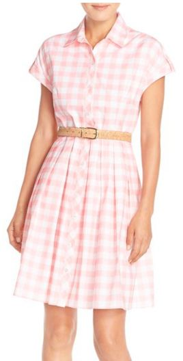 Loving this pink gingham shirt dress