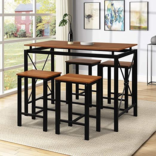 Interjunzhan 5 Piece Dining Table Set Modern Simple With Metal Wood Table And 4 Chairs For Ho Dining Room Sets Counter Height Dining Sets Dining Table Setting