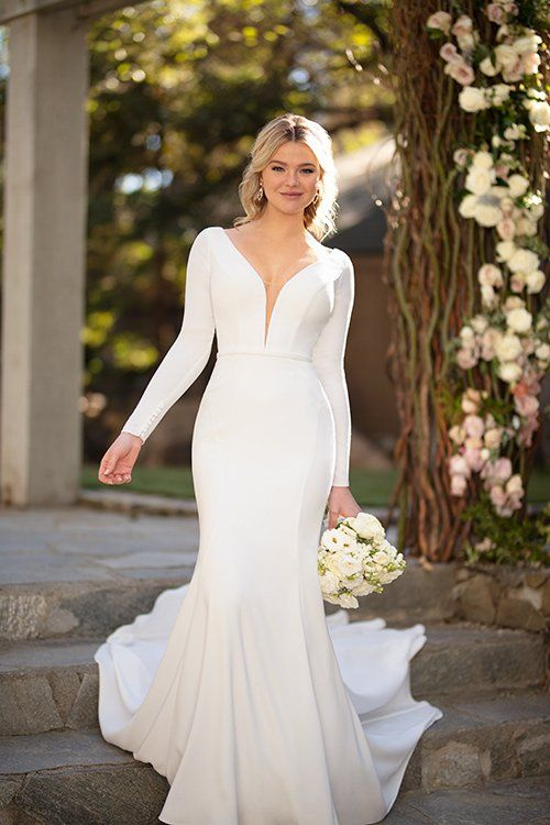 Modern Wedding Dress Idea Long Sleeve Wedding Dress With V Neckline Style D29 Sleek Wedding Dress Essense Of Australia Wedding Dresses Wedding Dress Trends