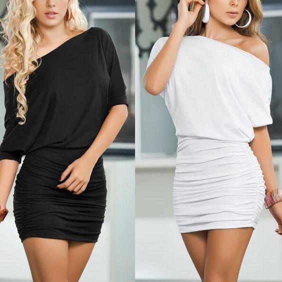 Women One-shoulder-off Sexy Slim Dress Nightclub Wear