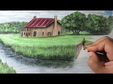 كيفية رسم منظر طبيعي بالالوان الخشبية من الخيال Youtube Painting Art Lesson Landscape Pencil Portrait