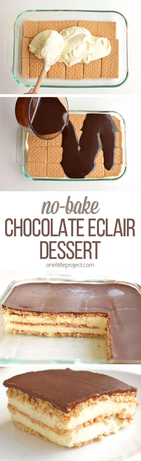 This chocolate eclair cake is such an easy dessert! And it tastes AMAZING with its creamy and delicious layers!! Just like a chocolate eclair, but in a cake. Mmmmm...: