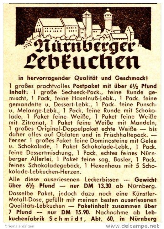 Original-Werbung/ Anzeige 1957 - NÜRNBERGER LEBKUCHEN - SCHMIDT - NÜRNBERG  - ca.60 x 80 mm