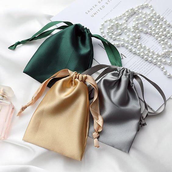 Gold drawstring Satin Bags 8x13