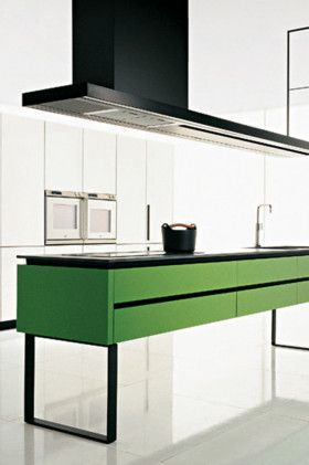 #minimalistic Hi-Line kitchen island designed by Ferruccio Laviani by Dada #green