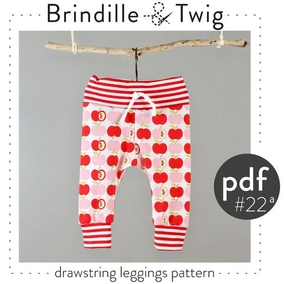 Baby leggings pdf pattern tutorial sizes Preemie-6T drawstring waist and ankle cuffs -Pattern ...