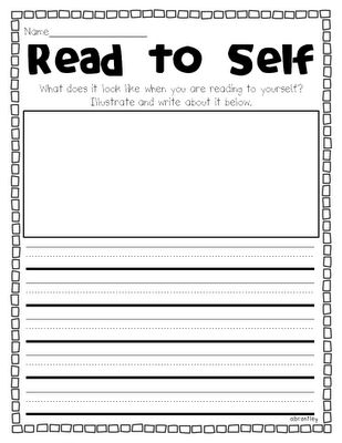 "Great worksheets to review ""read to self,"" ""read to someone,"" ""write to self,"" and ""3 ways to read a book"""