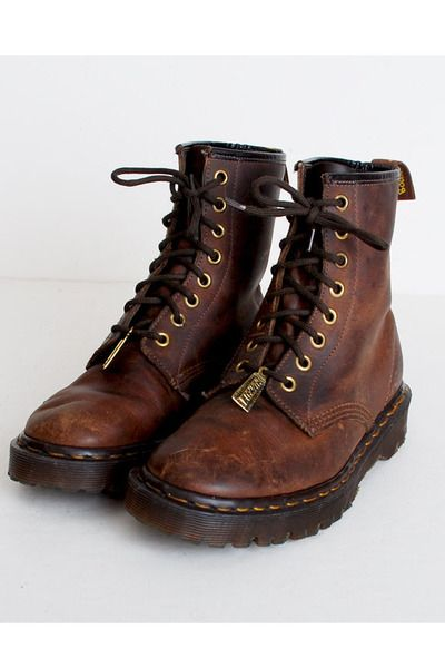 MY FAVORITE OF ALL TIME, EVER...brown vintage Dr martins boots...GETTING THESE STAT!