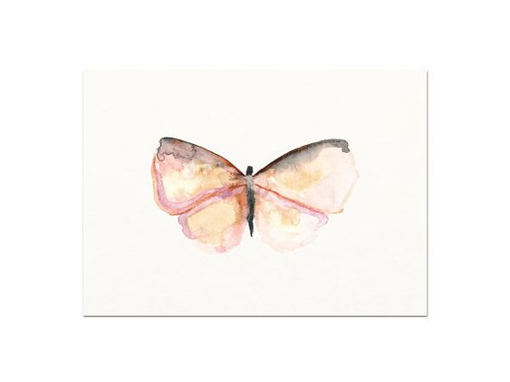 Mariposa rosa. Impresión de mi pintura acuarela por SnoogsAndWilde