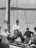 President John F. Kennedy sailing with Senator Edmund Muskie.