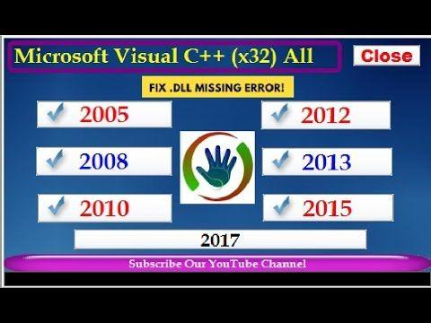 All In One Pack  DLL Missing Error Fix Microsoft Visual C++