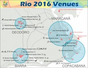Rio 2016 Olympics Venues - Tennis Centre, Riocentro – Pavilion 6, Rio Olympic Arena, Rio Olympic Velodrome, Pontal. Venues in Copacabana Region - Beach Volleyball Arena, Fort Copacabana, Lagoa Stadium, Marina da Gloria.