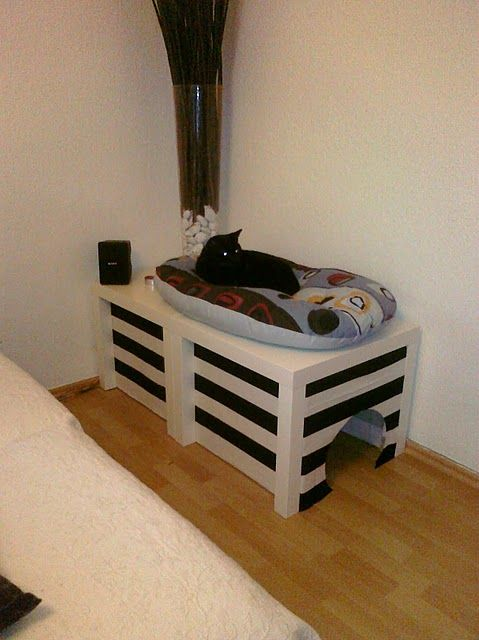 litter box cover from 2 ikea side tables and fabric this is a great diy cat litter box furniture 2