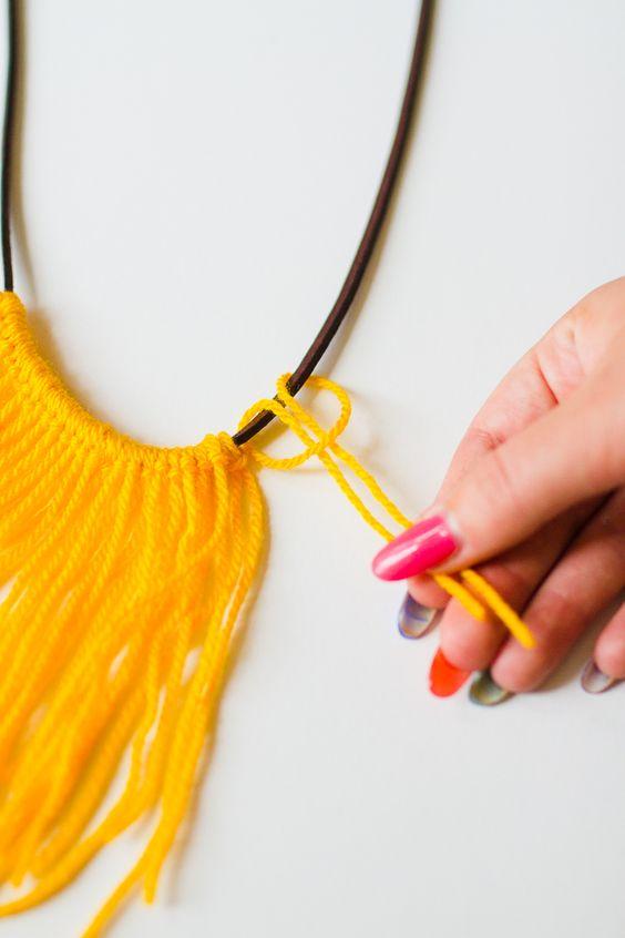 DIY Fringe Statement Necklace Yarn Festival Fashion Neon tutorial bespoke bride