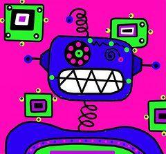 Robot Paintings - Happybot the Robot by Lynnda Rakos