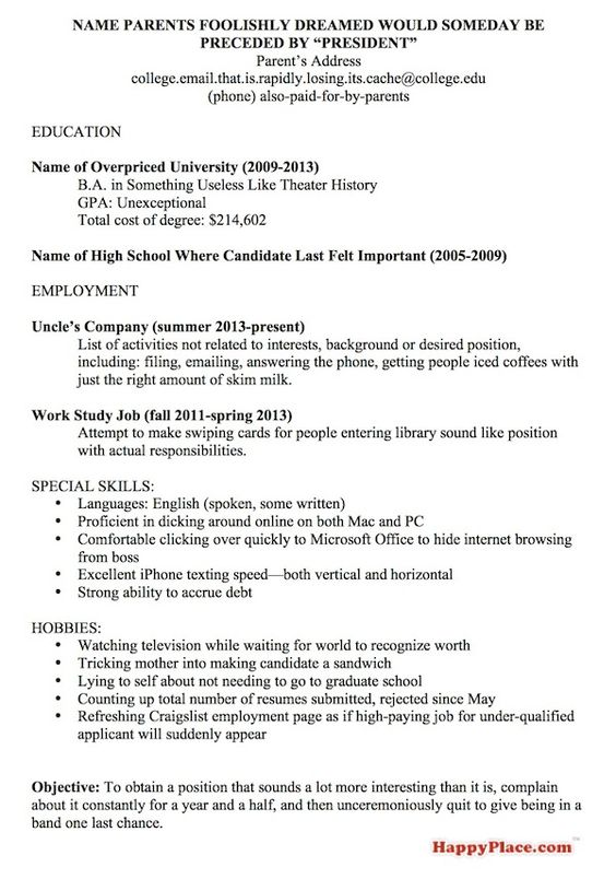 a resume template for every unemployed recent college grad happy