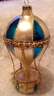 VINTAGE MERCURY GLASS MICA HOT AIR BALLOON CHRISTMAS ORNAMENT LARGE DROP DOWN