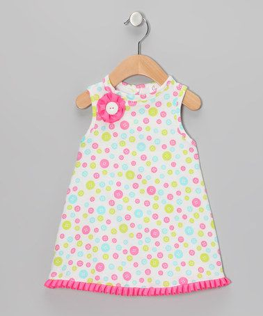 Take a look at this White & Pink Button Galore Dress - Infant by CyBaby on #zulily today!