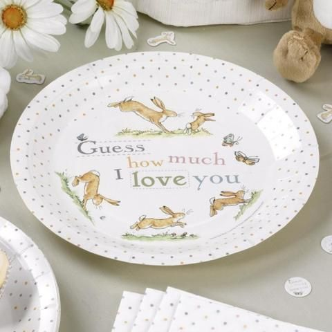 Guess How Much I Love You Paper Plates Party Supplies Tf Tiger Feet Putti Fine F With Images Paper Plates Birthday Paper Plates Party Plates Baby Shower