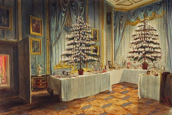 James Roberts  (1824-1867) —  Christmas Trees of the Duchess of Kent and the Royal Children at Windsor Castle, 1850 (1337x900)