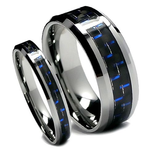 Tungsten Ring Direct - Tungsten Wedding Band Set, Black and Blue Carbon Fiber, Bevel Edge, High Polish Finish, 8MM and 6MM, $49.99 (http://www.tungstenringdirect.com/tungsten-wedding-band-set-black-and-blue-carbon-fiber-bevel-edge-high-polish-finish-8mm-and-6mm/)