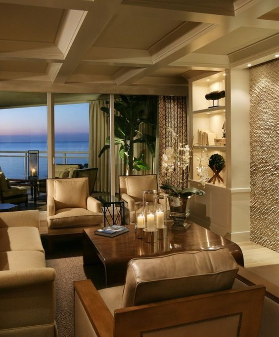 Beach Coastal Transitional Family Room Great Room