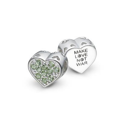 Pingente em Prata 925 com Peridoto Coração Faça Amor Não Faça Guerra - LIFE