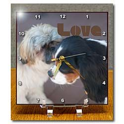 Two puppies with their faces near one another with the word Love Desk Clock
