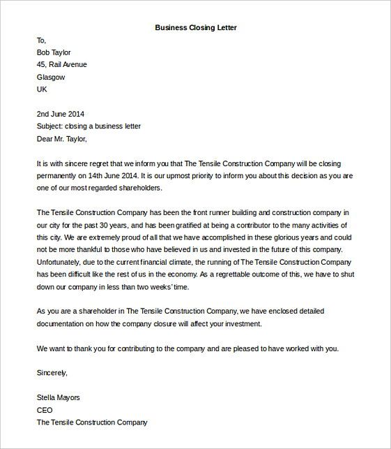 Free 12+ sample closing business letter templates in pdf   ms word.