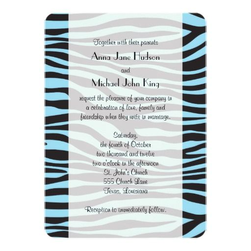 Wedding - Animal Print, Zebra Stripes - Blue Black Personalized Announcement